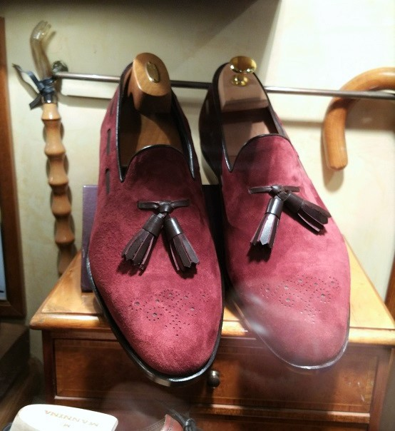 Burgundy Suede Loafers by Mannina