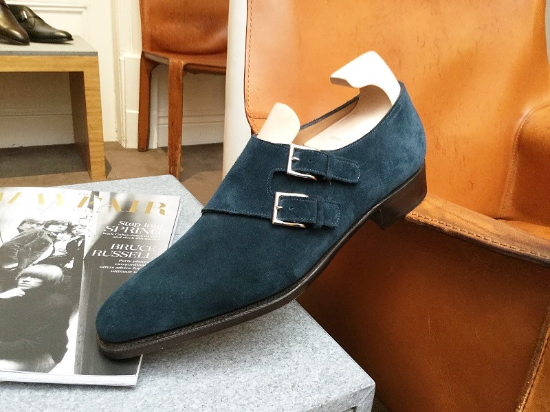Teal Suede Double Monks by John Lobb