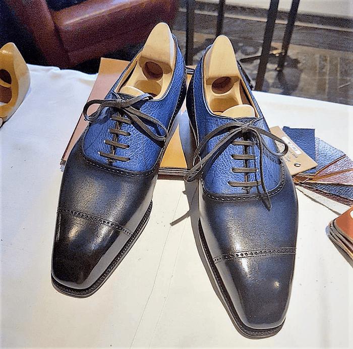 Masaru Okuyama Blue Bespoke Oxfords