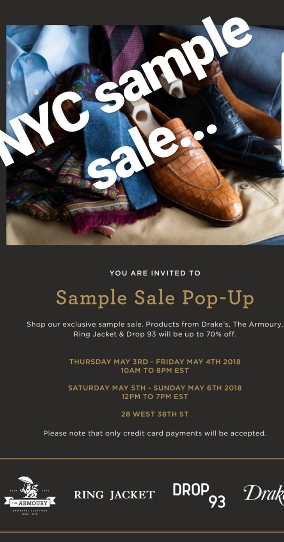 NYC Sample Sale - Drakes/The Armoury