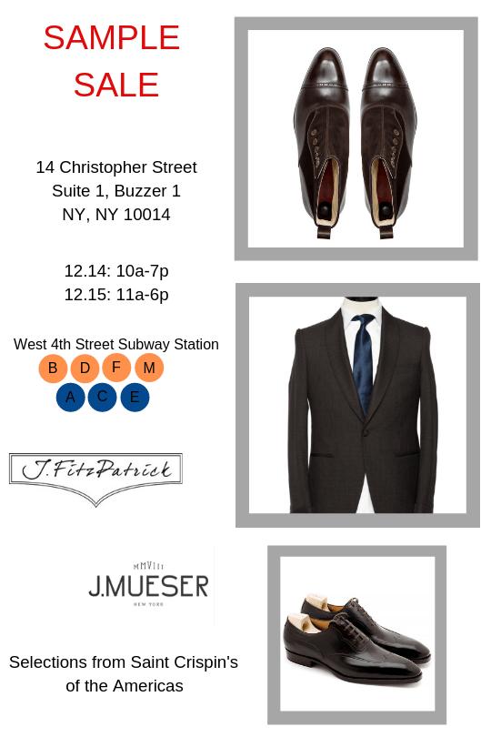 NYC SAMPLE SALE - J.FitzPatrick Footwear - J.Mueser Bespoke - Saint Crispins of Americas