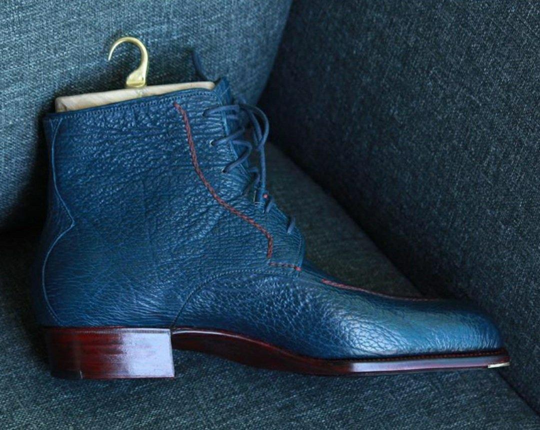 Blue Sharkskin Boots - Castez Ermili