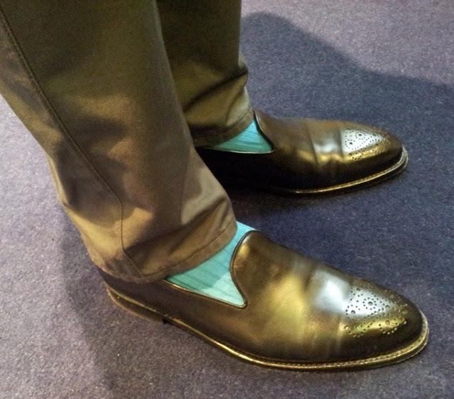 Bright Socks, Wholecut Loafers & DB Overcoats....My Kind of Outfit!