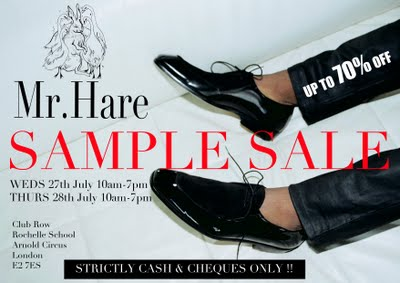 London Sample Sales -- Marc Hare, Be There!!