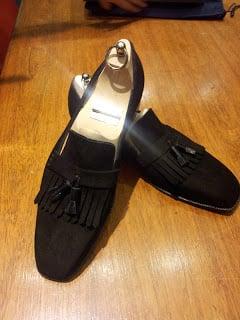 Black Suede Fringe Tassel Loafer by Carreducker
